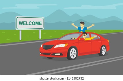 Two cheerful young guys in a red car on the highway. Happy driver driving a car. Flat vector illustration.