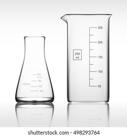 Two Chemical Laboratory Glassware Or Beaker. Glass Equipment Empty Clear Test Tube. EPS10 Vector