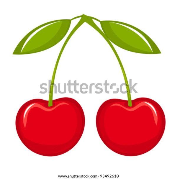 Two cherries with leaves. Vector illustration