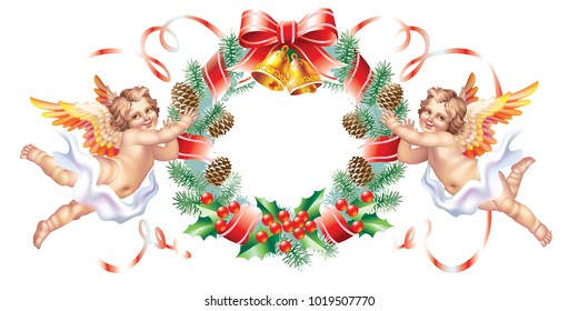 Two cherub and a Christmas wreath on a white background