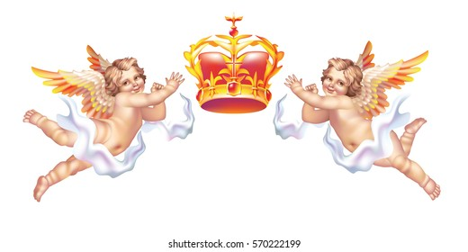 Two cherub and a crown on a white background