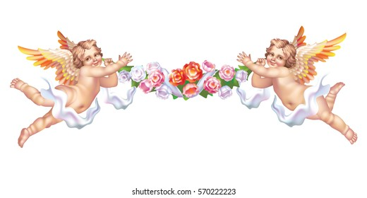 Two cherub with a flower garland on a white background