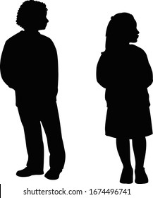 two children body silhouette vector