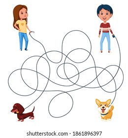 Two children, boy and girl, walk the dogs on leashes. Guess where is whose dog is? Children's picture puzzle with tangled lines.
