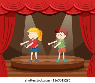 Two children dancing on stage illustration
