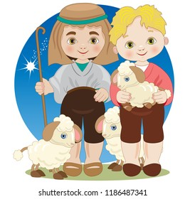 Two children dressed as shepherds with sheep for the Christmas nativity scene