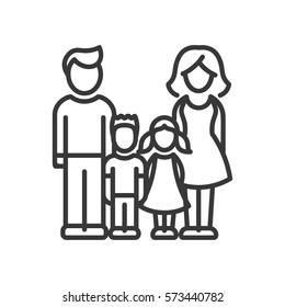 Two Children Family - vector modern line design illustrative icon. Man, woman, girl, boy models standing together.