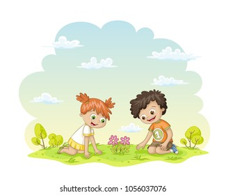 Two children are happy about a flower in a meadow