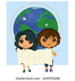 Two children holding map on background planet Earth with small planes. Cartoon characters. Vector illustration.
