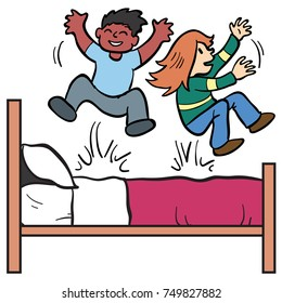 two children jumping on the bed. Kids and bed on separate layers.