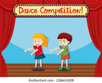 Two children on stage dancing illustration