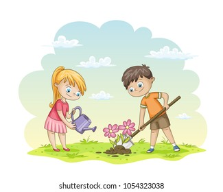 Two children are planting flowers