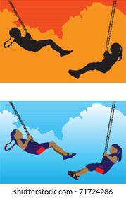 Two children play swings