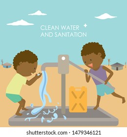 Two children are pumping water from a well