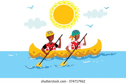 Two Children Rowing Canoe Boat In The Middle Of Water Kids Summer Camp Vector