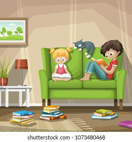 Two children are sitting on a couch and reading in a book.
