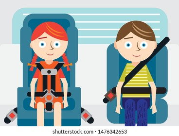 Two children traveling safely in car using proper booster seats and restraints