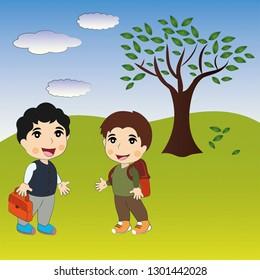 Two children's are talking. happy Cartoon Kids. Autumn