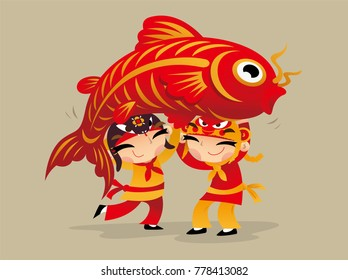 Two Chinese kids carrying a big carp to celebrate Chinese New Year coming