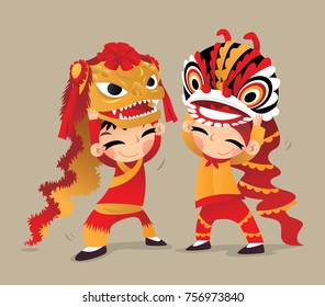 Two Chinese kids playing the Northern and the Southern Lion Dances
