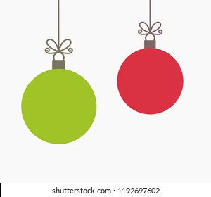 Two Christmas balls hanging ornaments. Vector illustration