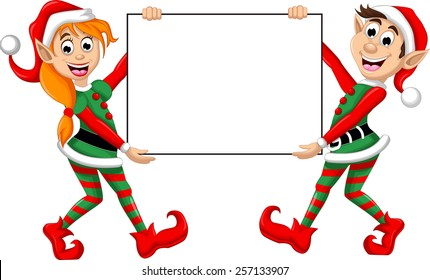 two  Christmas elf holding blank sign