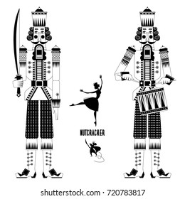 Two Christmas Nutcrackers, the mouse king and ballerina. Black and white. Vector illustration