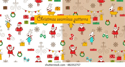 Two christmas seamless patterns on a white background and a cardboard background. Santa, deer, gift box and mittens. Funny backgrounds for Christmas and New Year. Vector illustration.