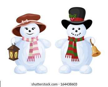 Two Christmas snowmen: a boy and a girl. Vector illustration.