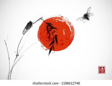 Two cicadas, big red sun and bamboo branch. Traditional oriental ink painting sumi-e, u-sin, go-hua. Hieroglyph - clarity