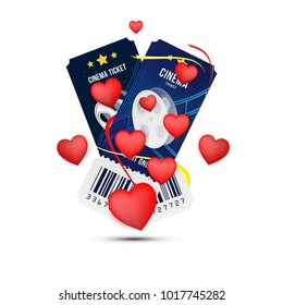Two cinema realistic ticket with red hearts for Valentines day isolated on white background with shadow. Flat vector illustration EPS 10
