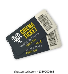 Two cinema ticket set for entertainment event. Realistic tickets, to show at admission for performance. Vector illustration