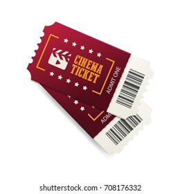 Two cinema tickets with barcode, close up top view isolated on white background. Creative vector concept, movie card banner.