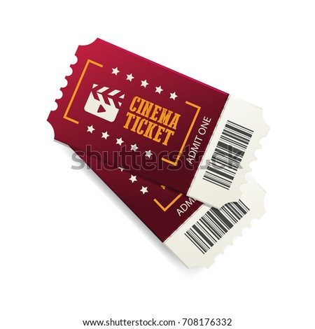 Two Cinema Tickets Barcode Close Top Stock Vector Royalty Free