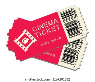 two cinema tickets isolated on white background realistic front view. vector illustration