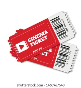 Two cinema vector tickets isolated on white background. Realistic cinema or movie tickets template.