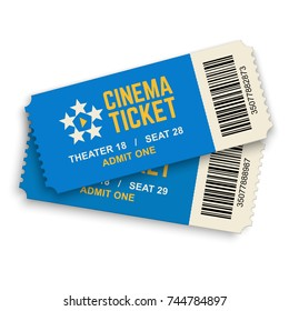 Two cinema vector tickets isolated on white background. Realistic front view illustration.
