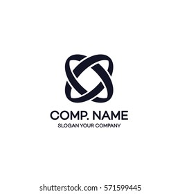 Two circle abstract logo black color on white background can used for corporate identity, markenting firm, funds service, investment and other. Infinity logo. Vector Illustration