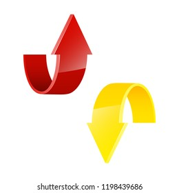 Two circle arrow ribbon. 2 direction round banner shape. Trend arrow stripe form flat icon. Index location. Pointer position. Marker standing. Indicator destination. Origami pointrs design shape set