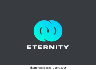 Two Circle Rings locked Logo design vector template. Infinity Eternity Loop symbol Logotype concept icon