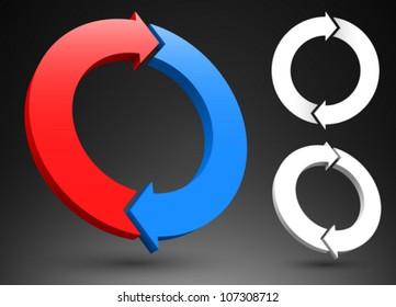 Two circular arrows 3D logos.