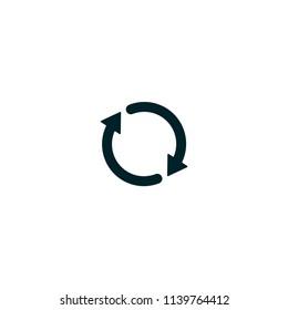 Two circular arrows, loop vector icon