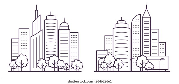 Two city landscapes line vector illustration with skyscrapers, towers and trees