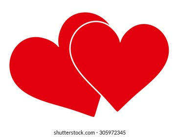Two Classical Red Overlapping Hearts on White Background - Vector Illustration