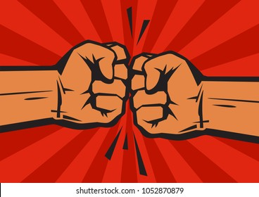 Two clenched fists bumping together on retro background with sun rays. The concept of conflict, confrontation,   resistance, competition, struggle. Hand drawn vector illustration isolated on red.