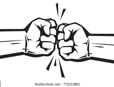 Two clenched fists bumping together. The concept of conflict, confrontation,   resistance, competition, struggle. Hand drawn vector illustration isolated on white background.