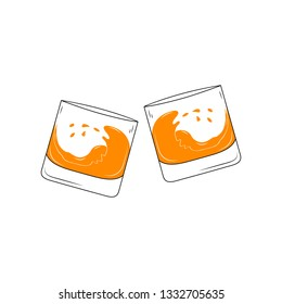 Two clinking alcohol glasses with rum, whiskey, brandy, scotch. Cocktail bar drink menu label. Vector illustration.