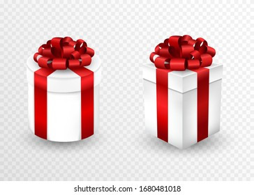 Two closed gift boxes with red ribbon and bow. Greeting banner for Christmas, New Year, Birthday.