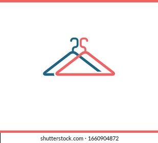 Two clothes hangers. Red and blue color. Icon or logo design. Vector illustration. Male and female.