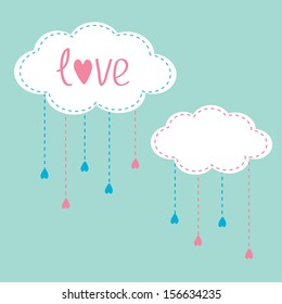 Two clouds with hanging rain drops. Love card. Vector illustration